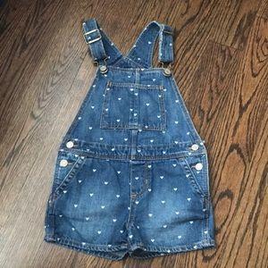 Toddler girl denim short overalls
